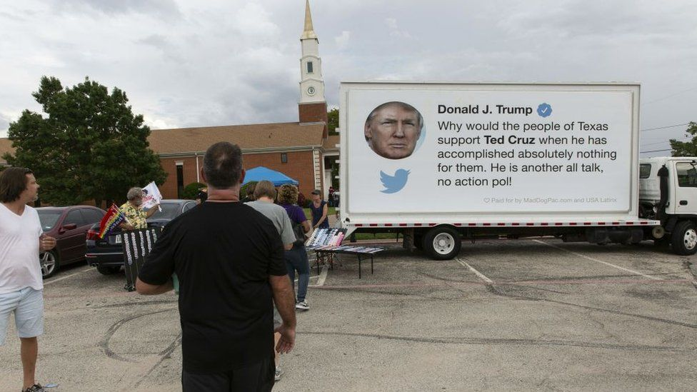 A trucks sponsored by a pro-Democrat group features a Trump tweet critical of Mr Cruz