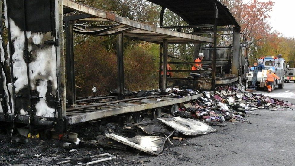 A30 lorry fire. Pic: Highways England