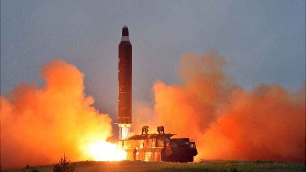 Undated image of a missile launch in North Korea