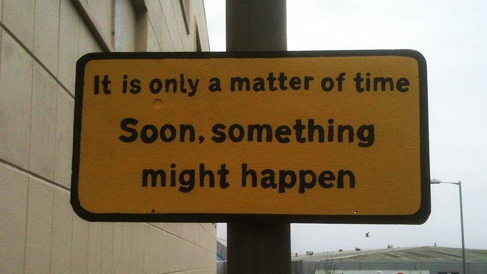 A joke sign