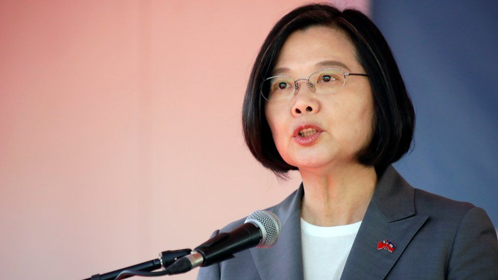 Taiwan's President Tsai Ing-wen speaks at a news conference