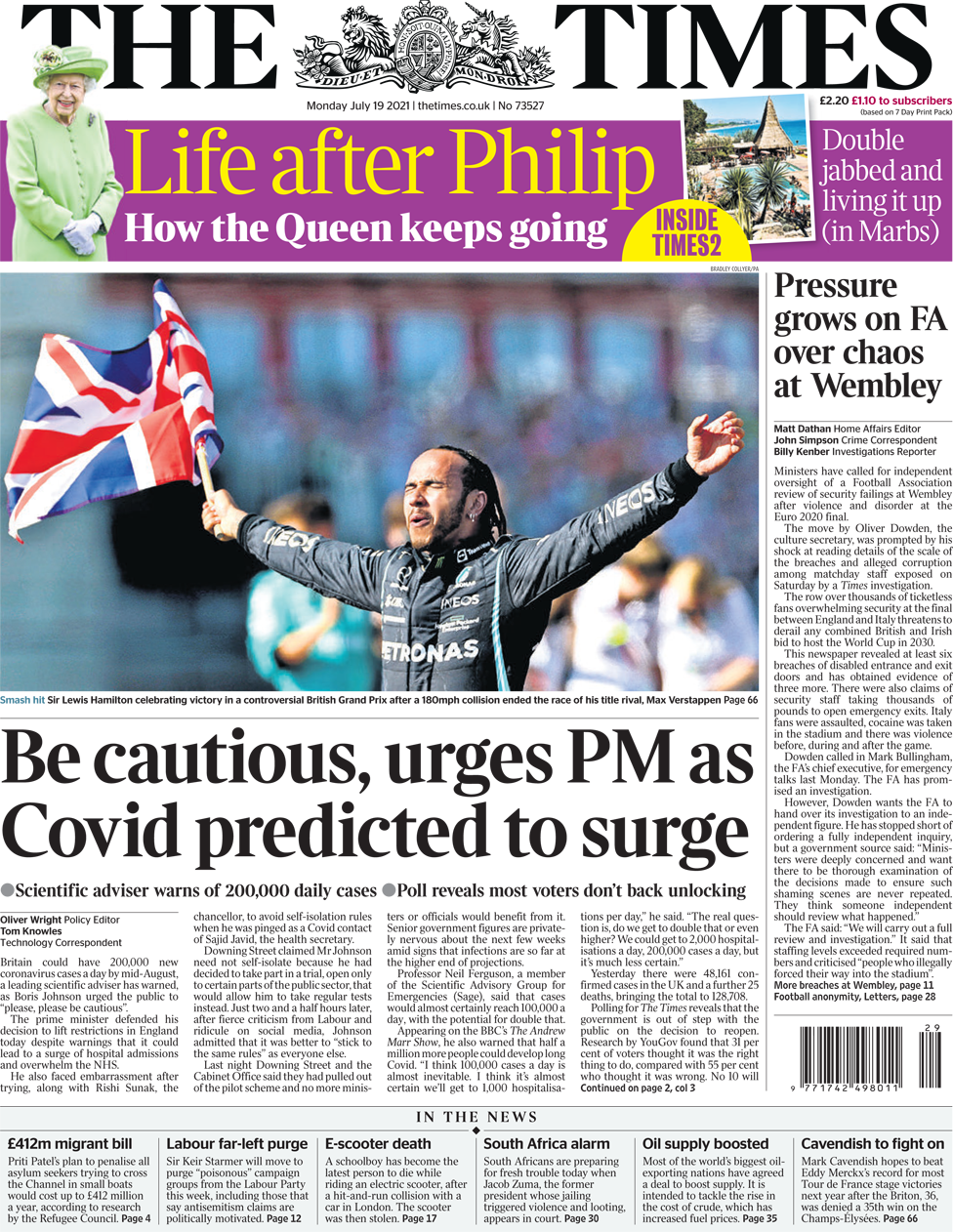 The Times front page 19 July 2021