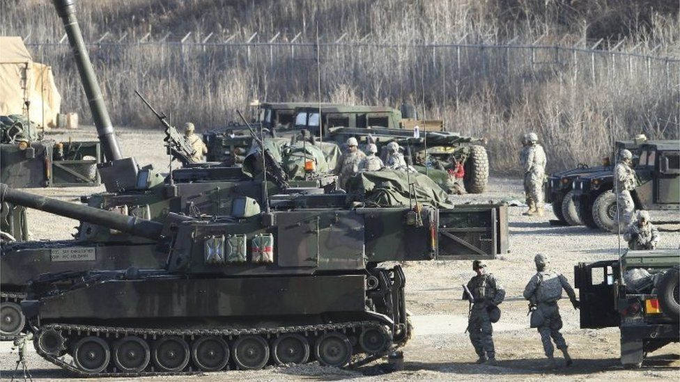 US and South Korean troops on military drills in Pocheon (10 March 2016)
