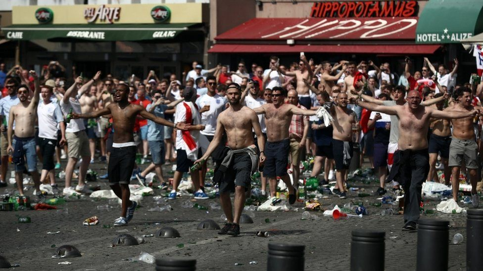 Skirmishes involving England fans also broke out ahead of the game in the city's port area