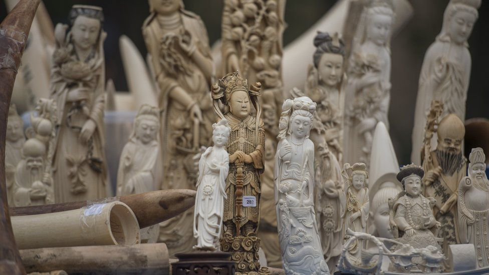 Ivory statues about to be destroyed in China (file image)