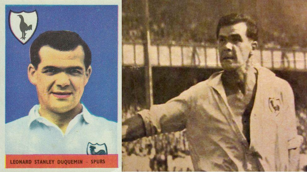 Len Duquemin sticker and the footballer playing for Tottenham Hotspur