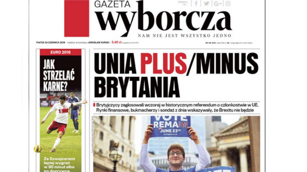 Poland's Gazeta Wyborcza front page
