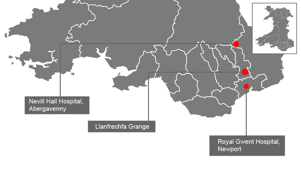 Map showing existing and proposed major hospitals in Gwent