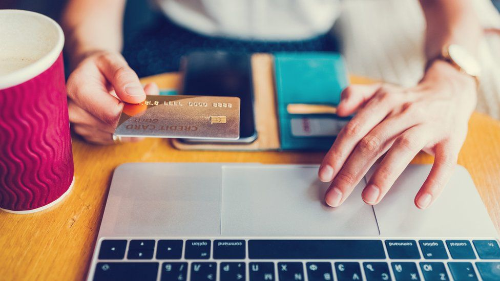 Woman making online payments.