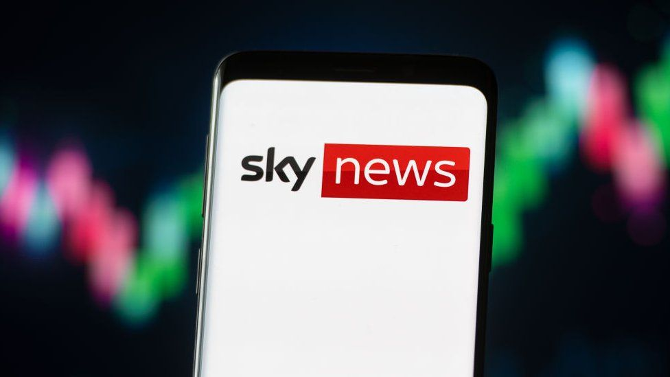 Picture of the Sky News logo on a mobile screen