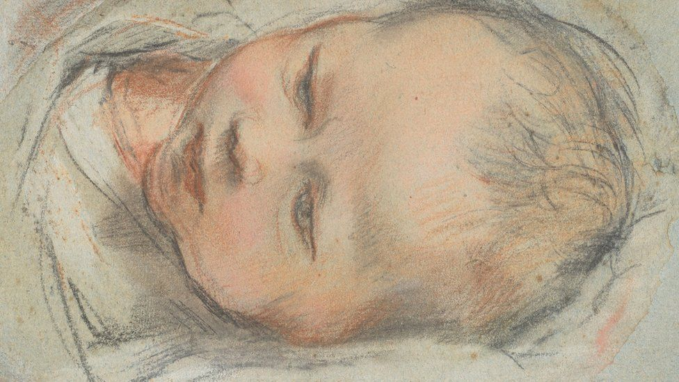 Federico Barocci, The head and shoulders of a swaddled baby, lying down.