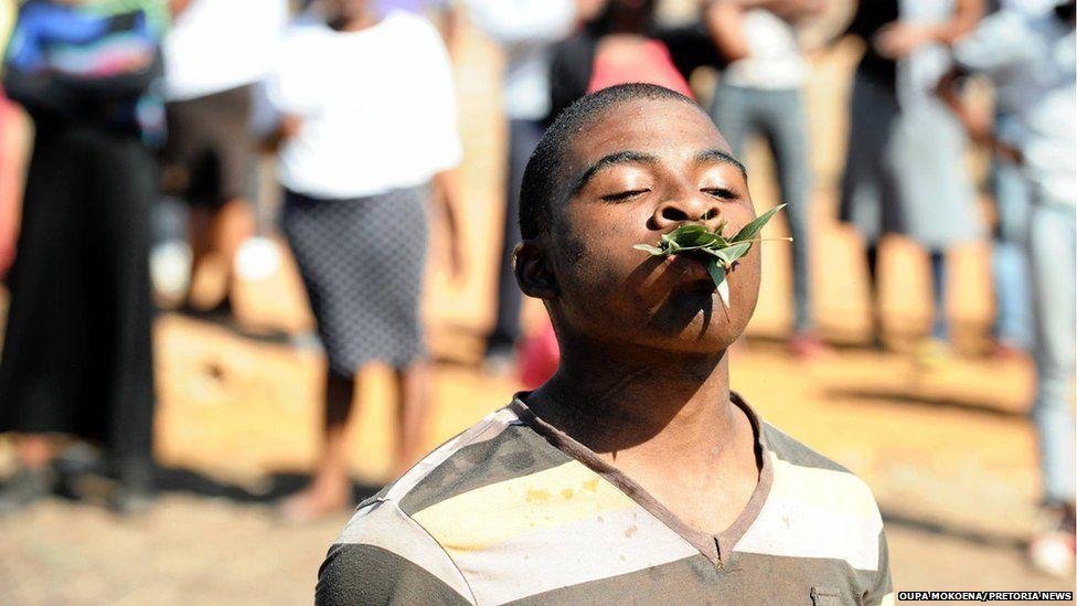 A man eats grass at service