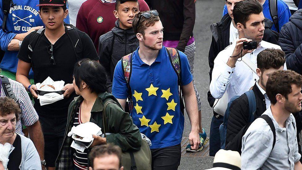 Wimbledon Spectator with EU flag on shirt