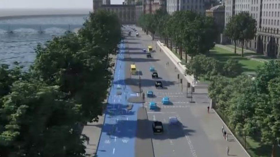 Artist's impression of cycle superhighway along the Victoria Embankment