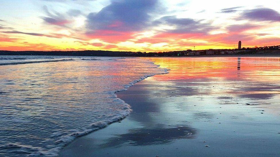 Sunset at Swansea Bay