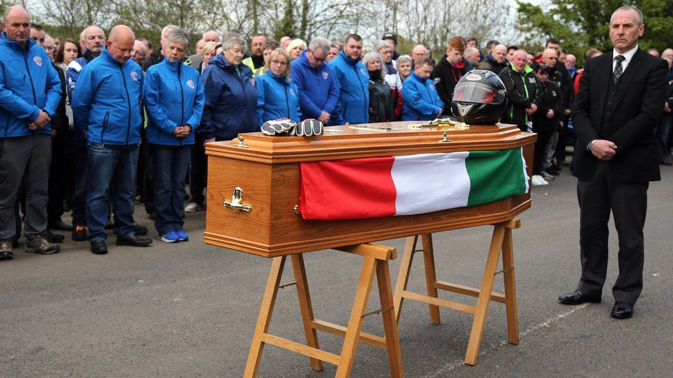 Dario Cecconi's coffin at the start line of the Tandragee 100