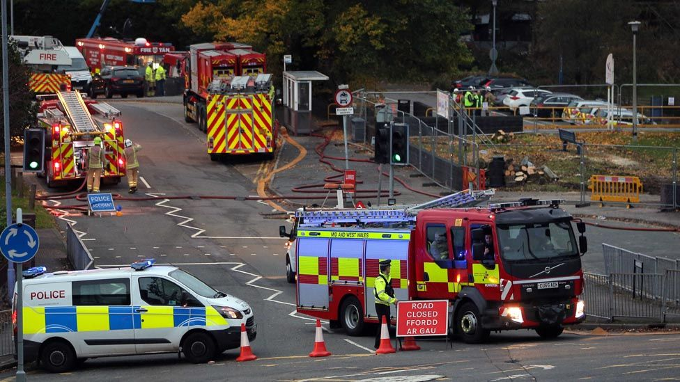 Tycoch Road outside the college has been closed