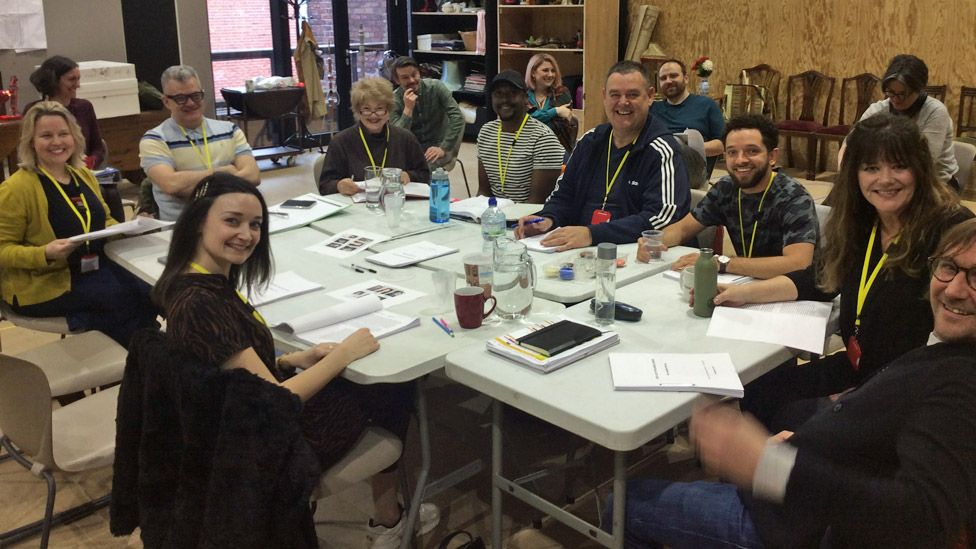The Our Lady of Blundellsands company during a read-through