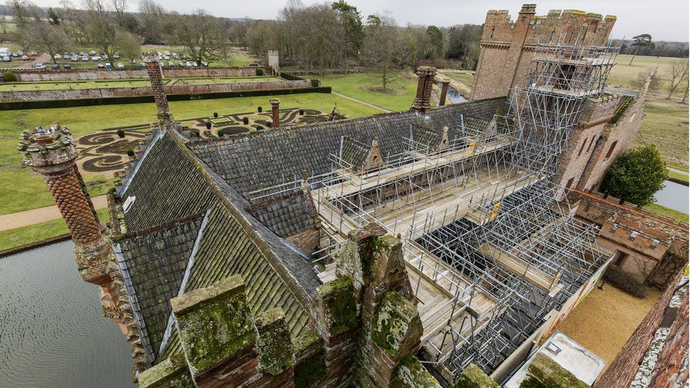 Oxburgh Hall with scaffolding