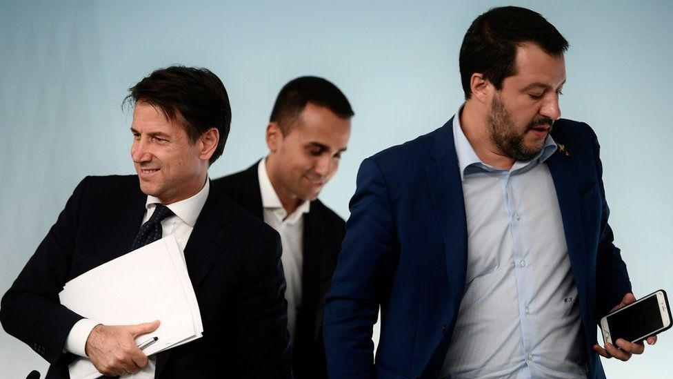 Italy's Prime Minister, Giuseppe Conte; Deputy Prime Minister and Minister of Economic Development, Labour and Social Policies, Luigi Di Maio; and Deputy Prime Minister and Interior Minister, Matteo Salvini