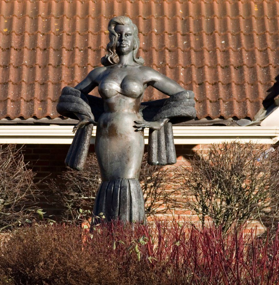 Statue of Diana Dors outside the Cineworld cinema in West Swindon