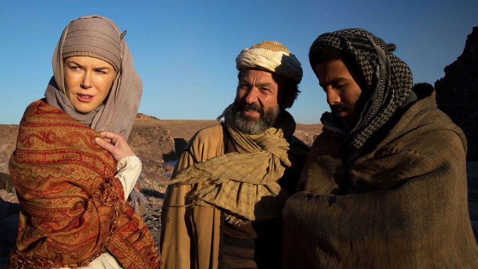 A still from Queen of the Desert, featuring Nicole Kidman as Gertrude Bell and Jay Abdo as her guide, Fattuh