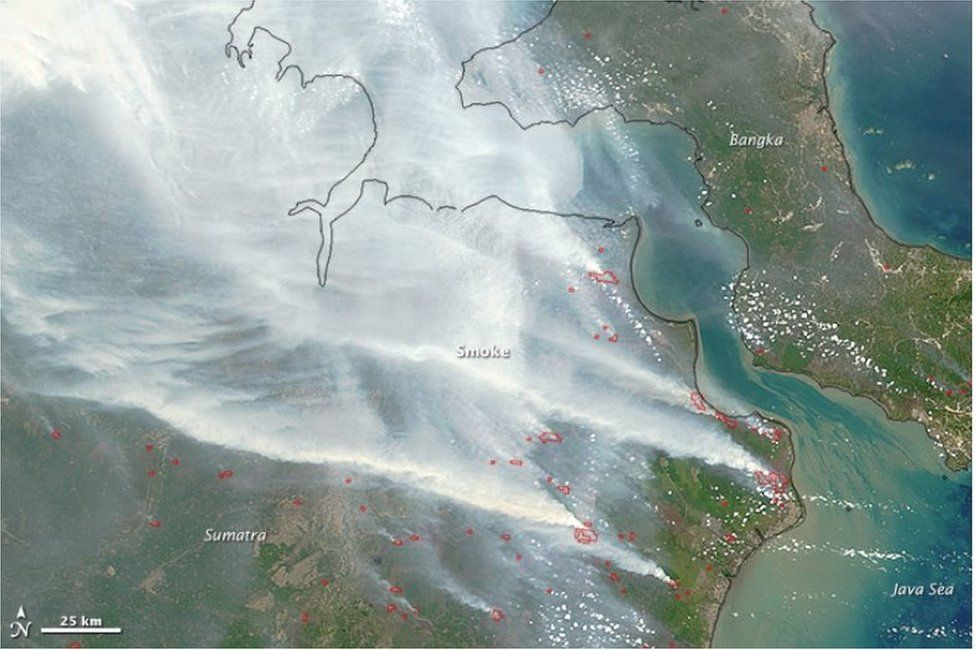 Satellite images of the haze caused by forest fires in Indonesia on 24 September 2015
