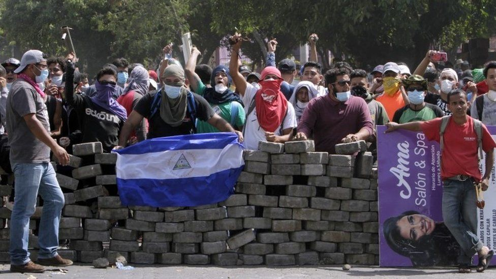 Students barricading their campus in Managua, 21 April