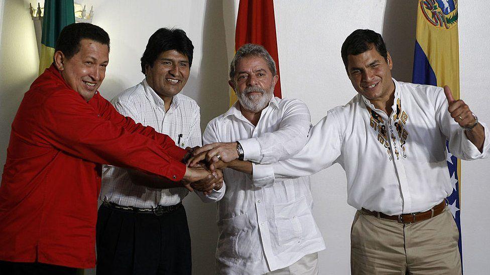 Venezuela's President Hugo Chávez, Bolivia's President Evo Morales, Brazil's President Luiz Inácio Lula da Silva and Ecuador's President Rafael Correa in 2008