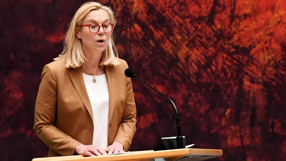 Sigrid Kaag, Dutch minister for foreign trade and development cooperation, speaks during a debate
