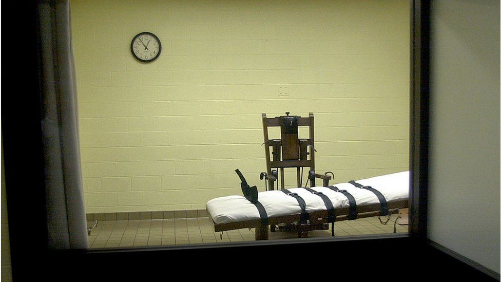 An execution room in Ohio with an electric chair