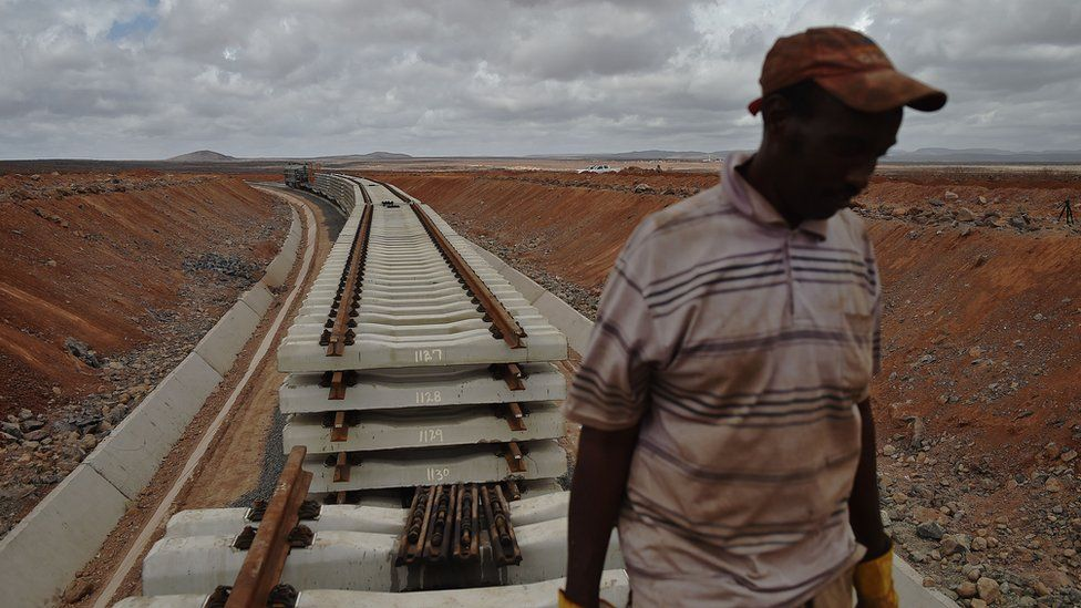 Worker on the Addis Ababa to Djibouti line