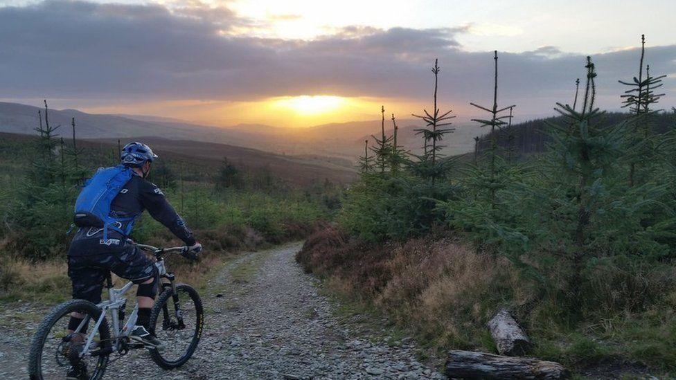 A mountain bike rider in Llandegla, Denbighshire