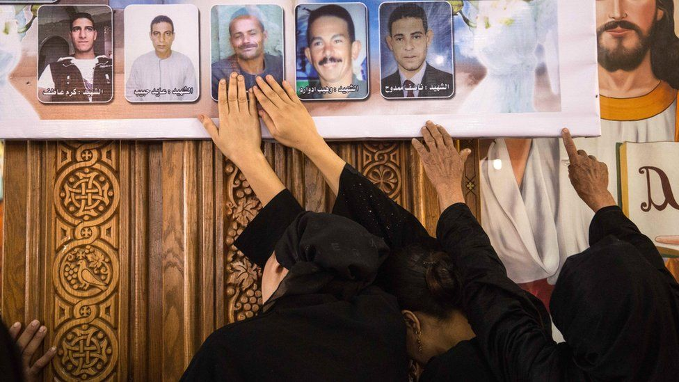 Prayers in Deir El-Garnouse Coptic church, near Al-Minya, for the victims of of a terrorist attack, 28 May 2017