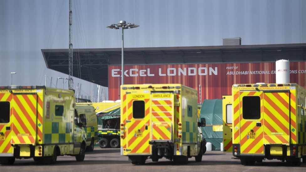 Ambulances outside the NHS Nightingale Hospital at the ExCel centre in London,