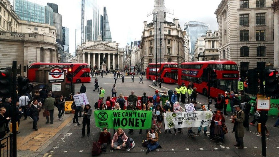 Protesters block traffic at Bank Junction