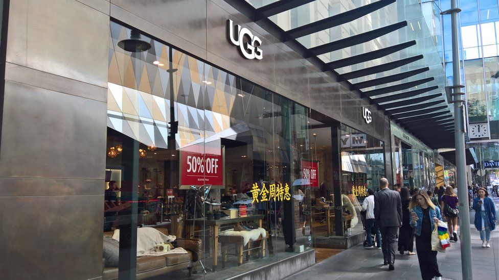 """A store owned by Deckers carrying its new """"UGG"""" branding, a recent change from """"UGG Australia"""""""