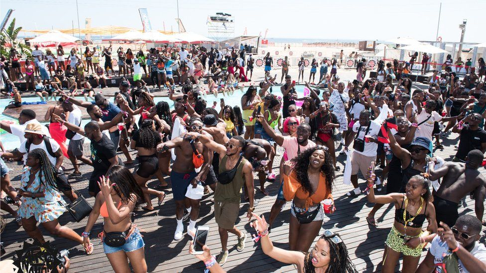 People dancing at afronation festival
