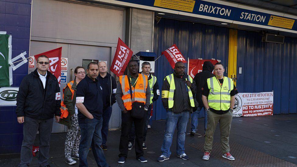 Picket line at Brixton station