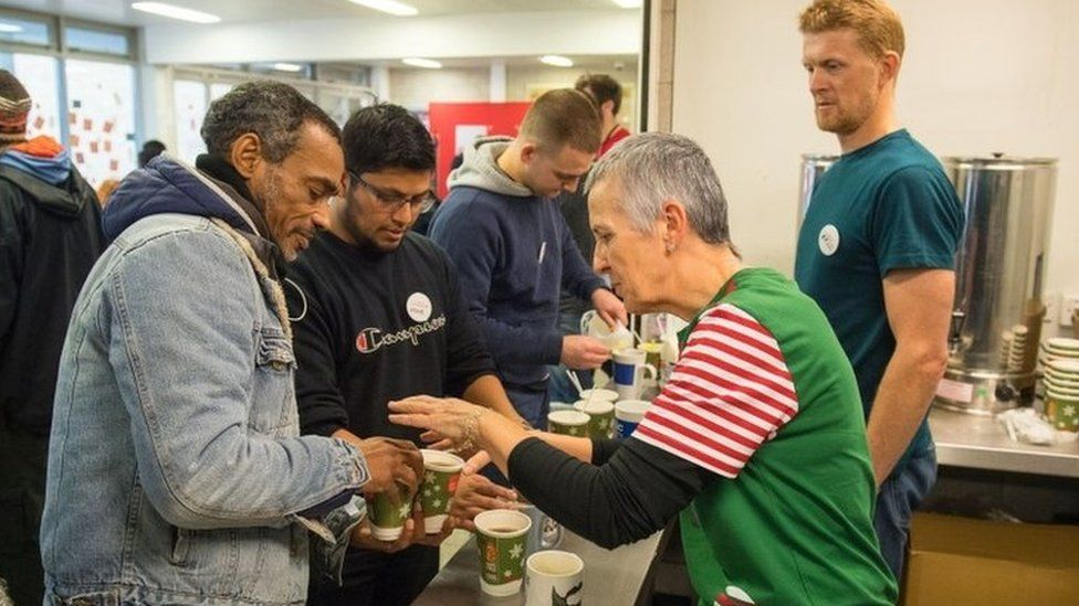 Volunteers at a Crisis centre for the homeless