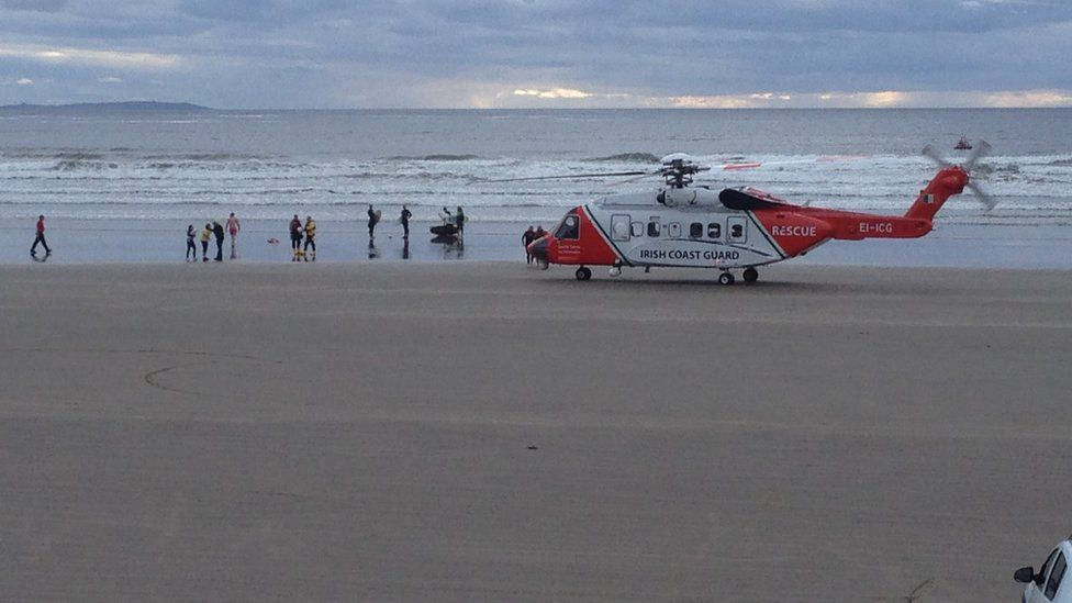 One of the Irish Coast Guard helicopters involved in a previous rescue on Rossnowlagh beach in County Donegal