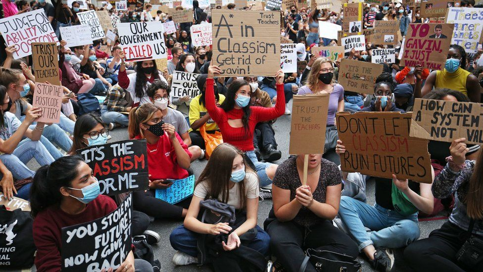 Protesters outside the Department for Education in London