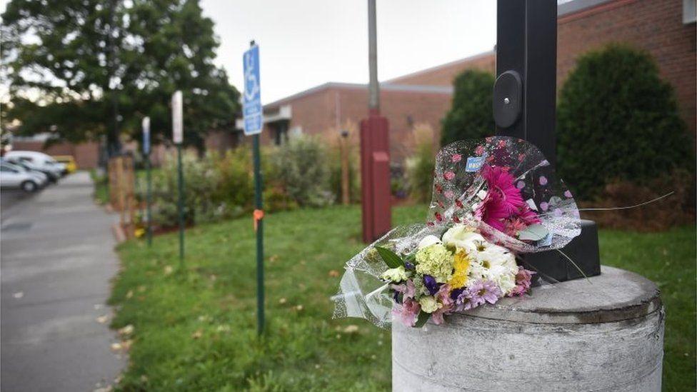 Flowers sit outside the Dal Al Farooq Islamic Center in Bloomington, Minnesota.