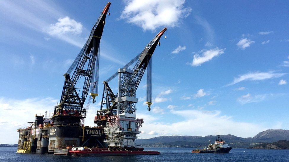 A general view of the drilling platform, the first out of four oil platforms to be installed at Norway's giant offshore Johan Sverdrup field during the first phase development, near Stord, western Norway (4 September 2017)