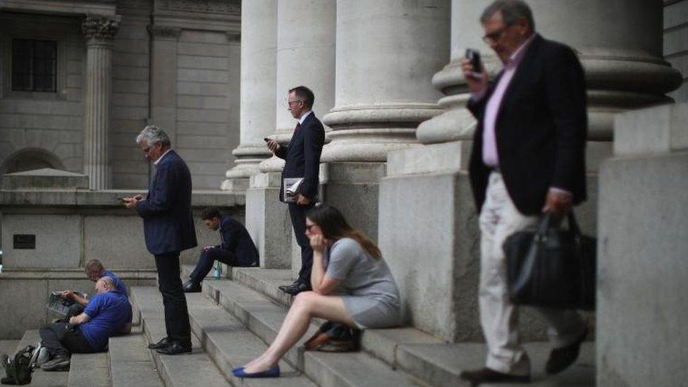 People outside Bank of England