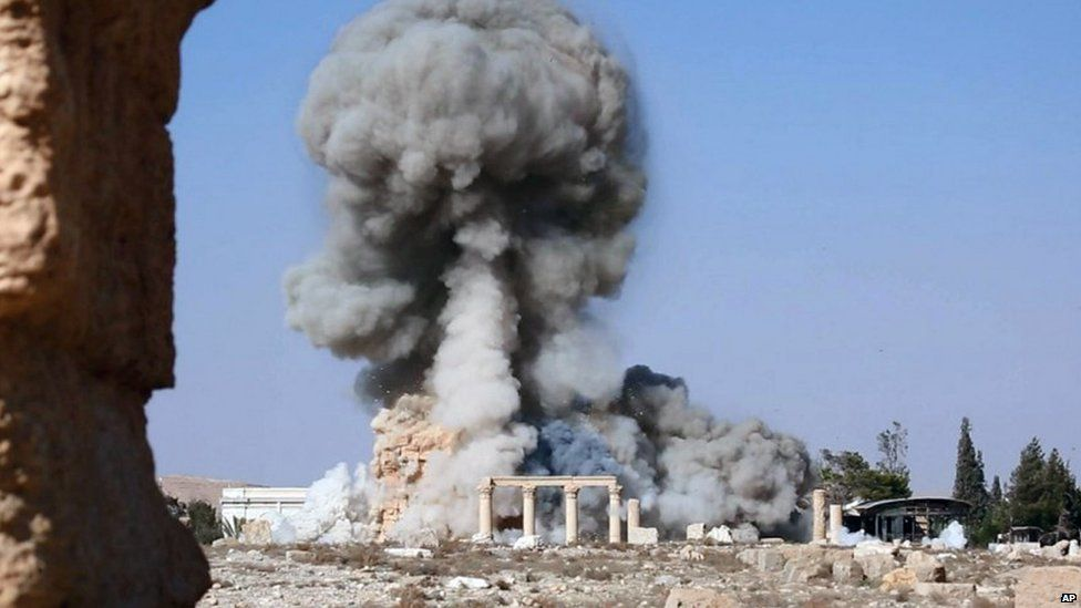Undated image released by Islamic State purportedly shows destruction of temple