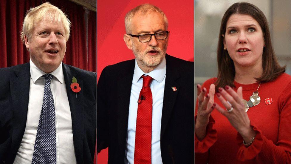 From L-R: Conservative leader Boris Johnson, Labour's Jeremy Corbyn and Jo Swinson of the Liberal Democrats