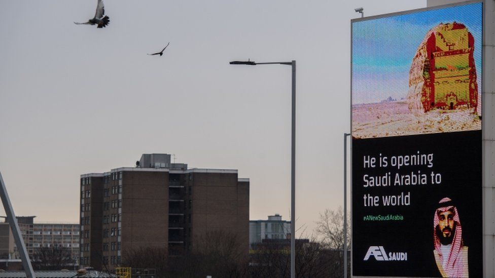 """Billboards show adverts for the Saudi crown prince with the hashtag """"#ANewSaudiArabia"""" next to the A4 in London"""