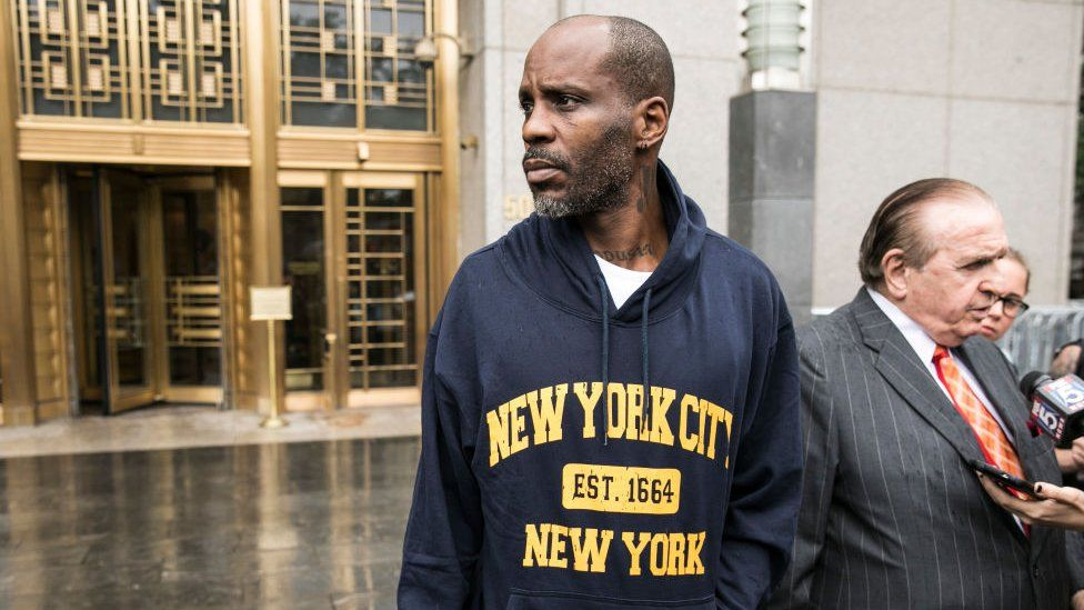 DMX with his lawyer outside court in July