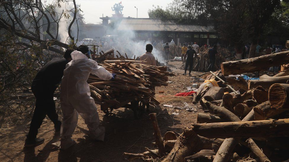 Relatives carry firewood for use in funeral pyres